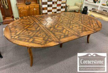 5966-472-Walnut Rustic Fr Cntry Round Table 3Lvs