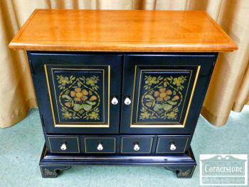 5966-57 Ethan Allen Maple Black Stenciled Small Cabinet