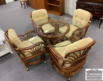 5966-589 - Bamboo Glass Top Table with 4 Chairs