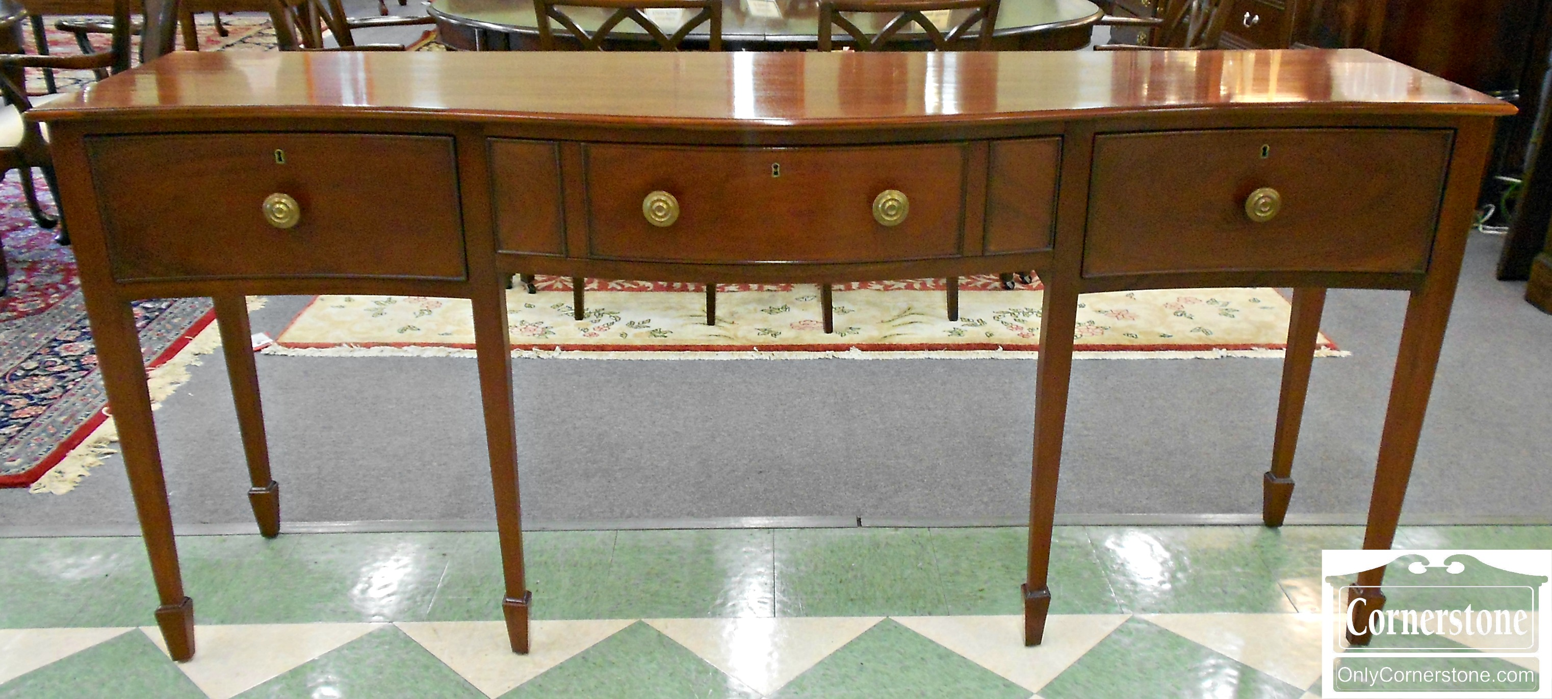 5966-6 Wright Table Company Mahogany Hepplewhite Serpentine Sideboard