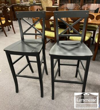 5966-606 - Pair of Contemp Black Bar Stools