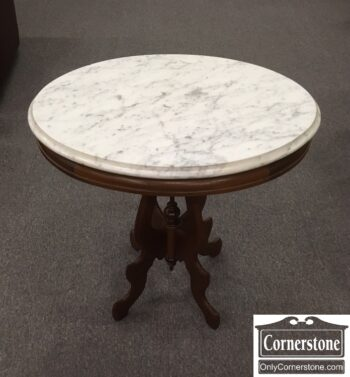 5966-610 - Walnut Victorian Marble Top Stand