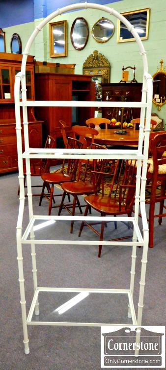 5966-66 White Metal & Glass Baker's Rack