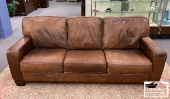5966-693 - Cont Brown 3 Cush Leather Sofa