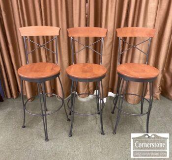Set of 3 Wood Set/Iron Frames Contemporary Bar Stools