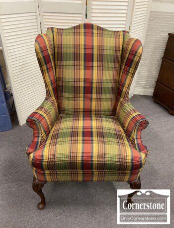 5966-735 - Hickory Chair Plaid QA Wing Chair