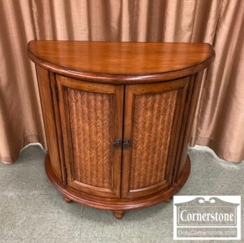 5966-737 - Maple Cont Demilune Cabinet w Rattan