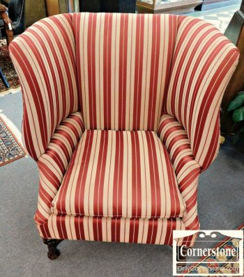 5966-75 HIghland House Red Striped Wing Chair