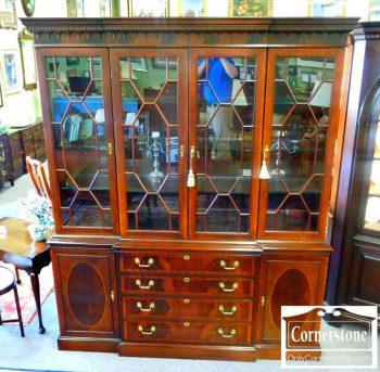 5966-81 Hickory Chair Mahogany Inlaid Breakfront