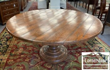 5966-836 - Round Pecan Contemporary Table w Ped Base