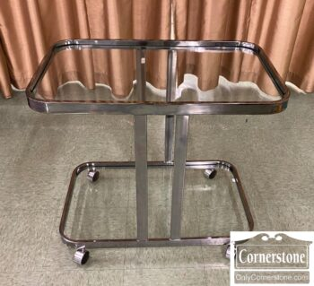 5966-849 - Retro Chrome and Glass Bar Cart