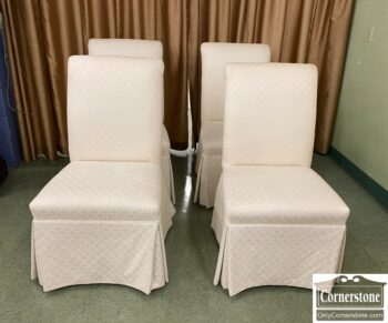 5966-850 - 4 White Uph Chairs