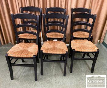 5966-867 - 6 Black Rush Seat Chairs