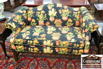 5966-94 Chippendale Camelback Settee in Black with Plant Design