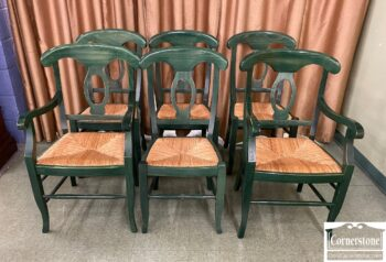 5966-959 - 6 Pottery Barn Maple Green Chairs