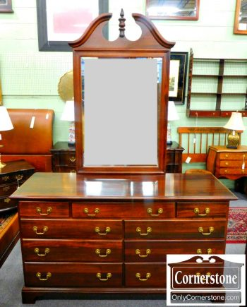 5966-96 Cresent Solid Mahogany Chippendale Double Dresser with Mirror