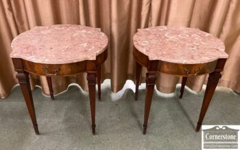 5966-961 - Pair of Mah Marble Tp End Tables