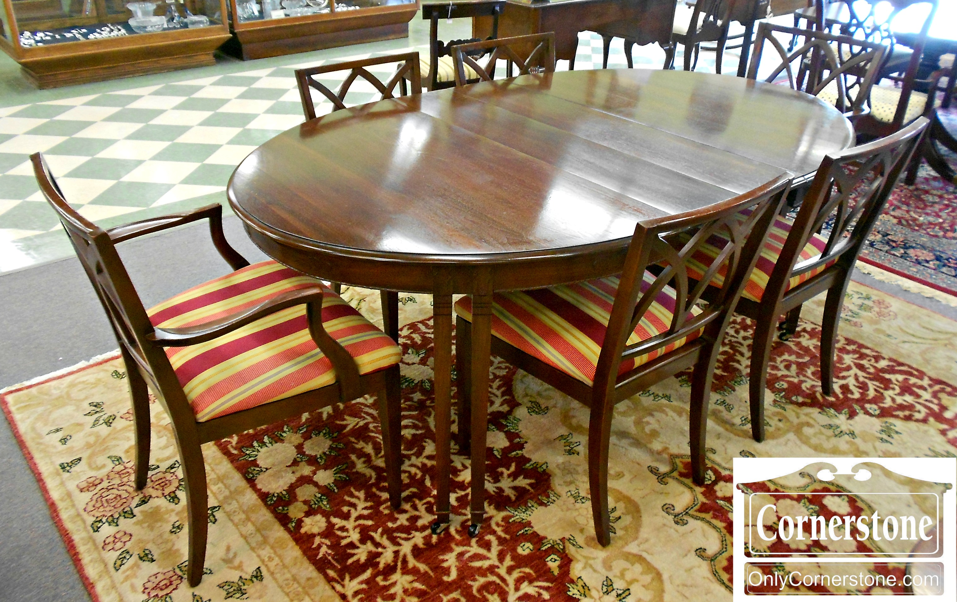 5979-2 Dining Set - Walnut Table with 4 Leaves, Pads, and 6 Mahogany Chairs