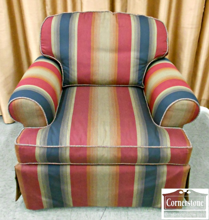 5993-1 C R Laine Striped Upholstered Occasional Chair Club Chair