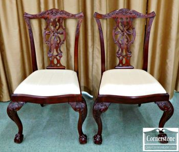 6041-2 Pair of Maitland Smith Mahgoany Chippendale Dining Side Chairs