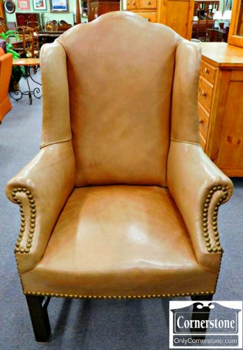 6051-28 Tan Leather Chippendale Wing Chair