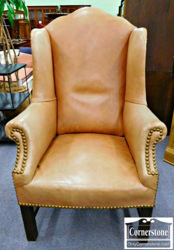 6051-33 Tan Leather Chippendale Wing Chair