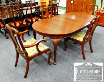 6111-3 Henkel Harris Dining Set Solid Cherry Queen Anne Round Table with 3 Leaves and 4 Chairs