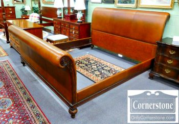 6118-1 Ethan Allen Contemporary King Leather Sleigh Bed