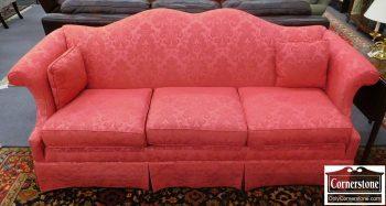 6123-1 Key City Deep Pink Damask Camelback Sofa