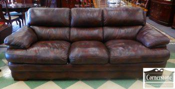 6126-1 Flexsteel Dark Brown Leather Sofa