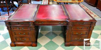 6152-1 Maitland Smith Mahogany Leather Top Executive Desk