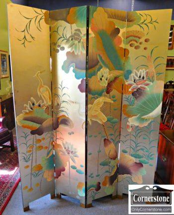 6160-1 4 Panel Oriental Folding Screen