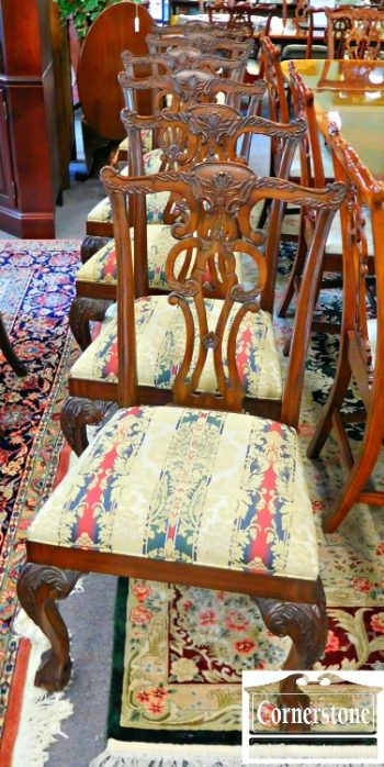 6169-1 Set of 6 Ethan Allen Solid Mahogany Chippendale Dining Chairs