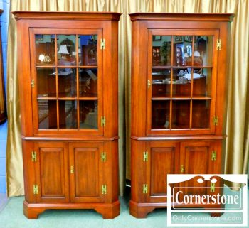 6174-1&2 Henkel Harris Solid Cherry 9 Pane Fairfax Corner Cabinet in Finish #24