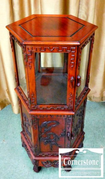 6178-1 Mahogany Oriental 6 Sided Display Cabinet