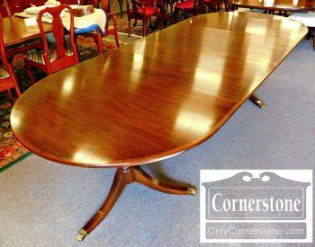 6180-1 Henkel Harris Mahogany #29 Finish Pedestal Table With 4 Leaves