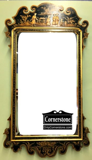 6199-10 La Barge Black and Gold Beveled Painted Mirror
