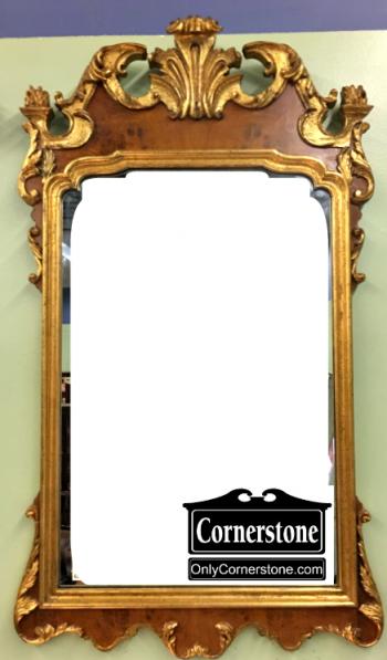 6199-9 La Barge Leaf and Shell Carved Gold Beveled Mirror