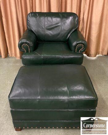 6208-10 - Henredon Green Leather Chair Ottoman
