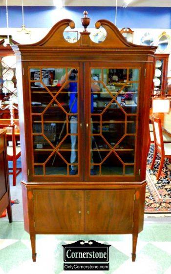 6264-10 Potthast Honduran Mahogany Hepplewhite Inlaid Corner Cabinet