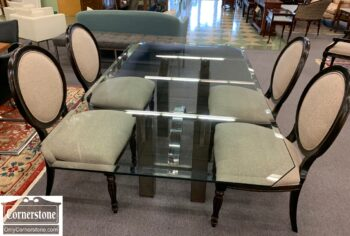 6302-8 - Cont Glass Top Dining Tbl Metal Base