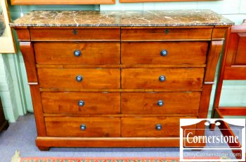 6320-111 Kincaid Cherry Marble Top Dresser (marble repaired)