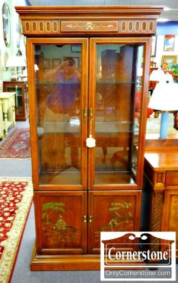 6320-128 Jasper Cherry Oriental Curio Cabinet