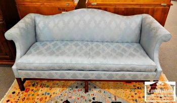 6320-208 - Mahogany Blue Upholstered Camelback Sofa