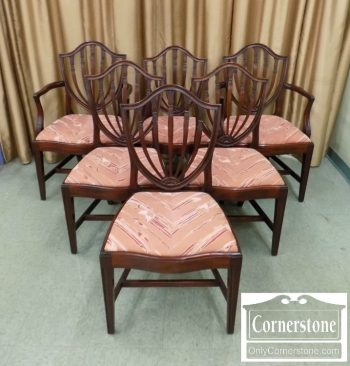 6320-367 - Potthast Solid Mahogany Shieldback Chairs - Set of 6