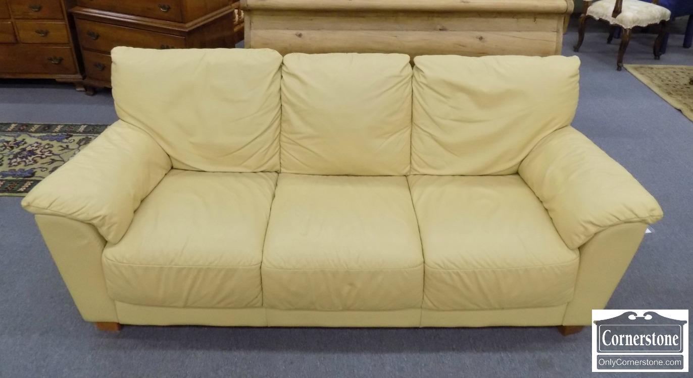 Buttercream Leather Contemporary Sofa Baltimore Maryland