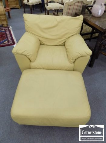6320-458 - Buttercream Leather Chair & Ottoman