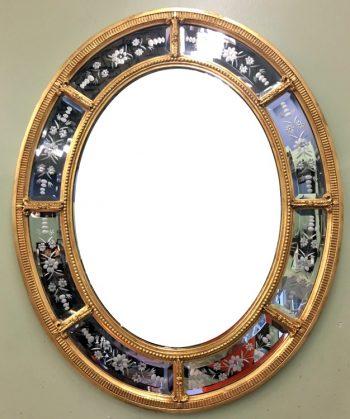 6320-494 (3) Friedman Bros. Gold Oval Beveled Gilt Framed Mirror
