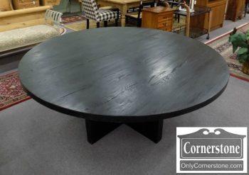 6320-524 - Restoration Hardware Black Round Russian Oak Plank Table