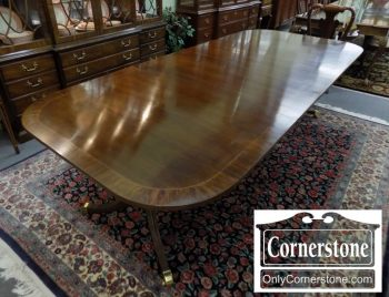 6320-567 - Hickory Chair Mahogany Pedestal Table with 3 Leaves